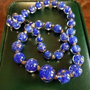 Vintage Italian blue Aventurine glass necklace